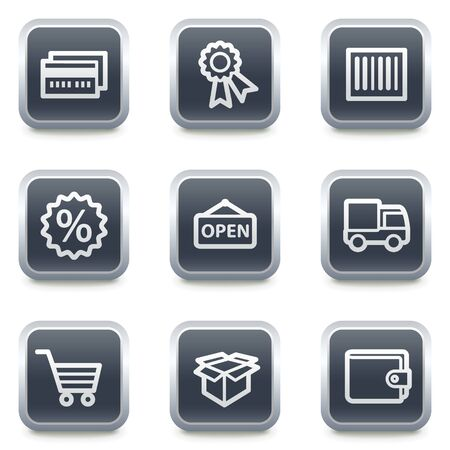 Shopping web icons set 2, grey square buttons Stock Vector - 7139515
