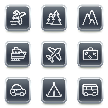 Travel web icons set 1, grey square buttons Vector