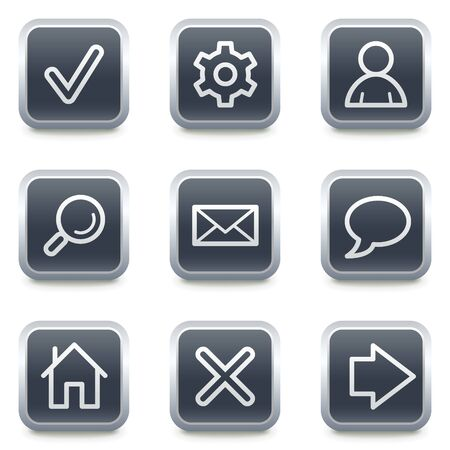 Basic web icons, grey square buttons Vector