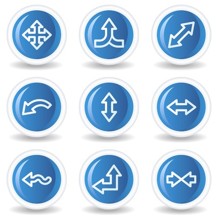 Arrows web icons set 2, blue glossy circle buttons Vector