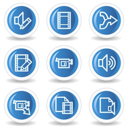 Audio video edit web icons, blue glossy circle buttons Vector
