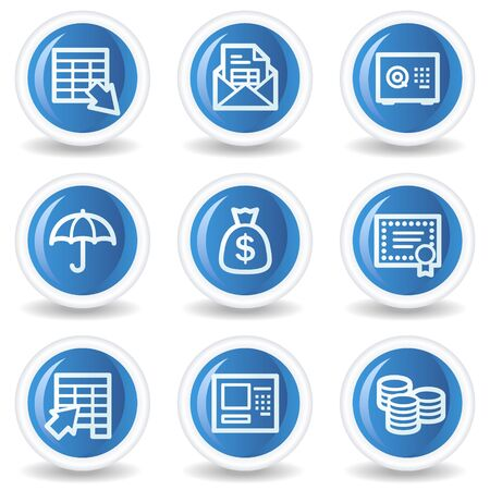 Banking web icons, blue glossy circle buttons Vector