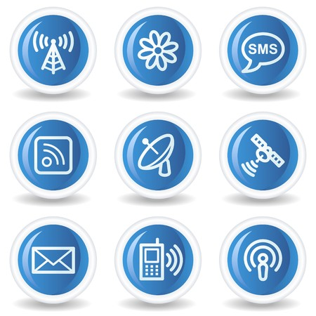 Communication web icons, blue glossy circle buttons Vector