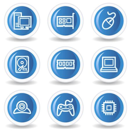 Computer web icons, blue glossy circle buttons Stock Vector - 7174596