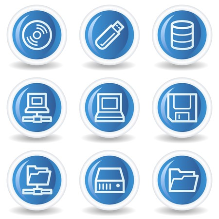 fdd: Drives and storage web icons, blue glossy circle buttons