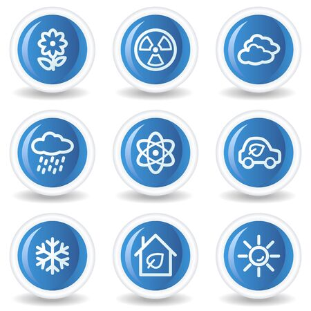 Ecology web icons set 2, blue glossy circle buttons Vector
