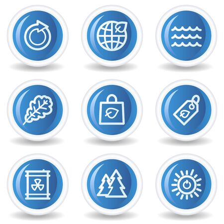 Ecology web icons set 3, blue glossy circle buttons Vector