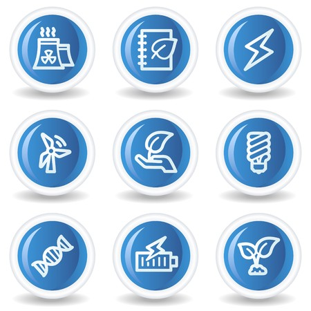 Ecology web icons set 5, blue glossy circle buttons Vector