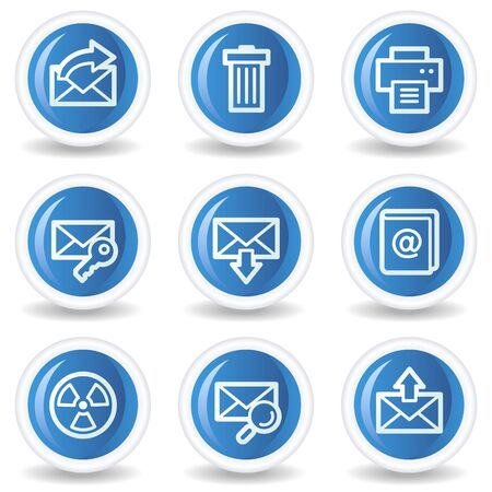 E-mail web icons set 2, blue glossy circle buttons Vector