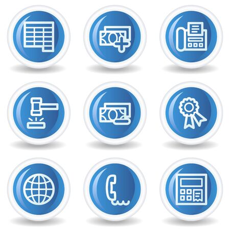 Finance web icons set 2, blue glossy circle buttons Vector