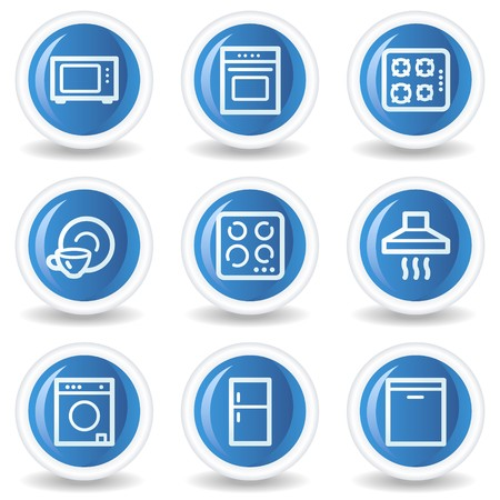 Home appliances web icons, blue glossy circle buttons Vector
