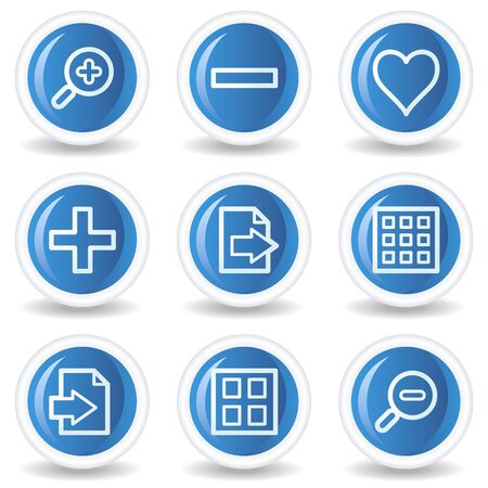 and viewer: Image viewer web icons set 1, blue glossy circle buttons Illustration