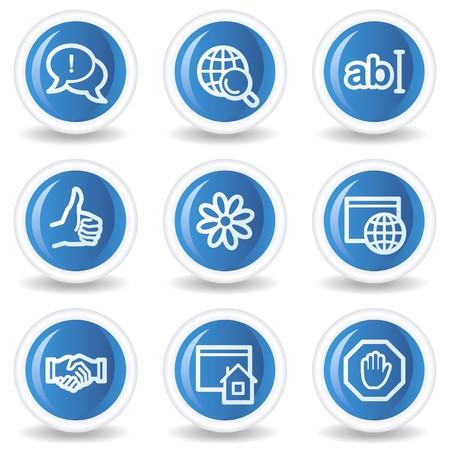 icq: Internet web icons set 1, blue glossy circle buttons