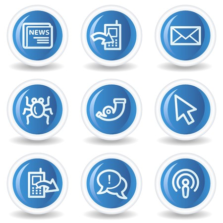 Internet web icons set 2, blue glossy circle buttons Stock Vector - 7174557