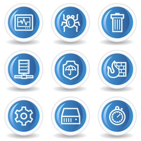 Internet security web icons, blue glossy circle buttons Vector