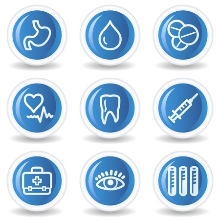 Medicine web icons set 1, blue glossy circle buttons Vector