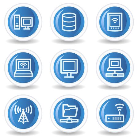 Network web icons, blue glossy circle buttons Vector