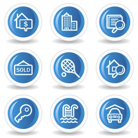 Real estate web icons, blue glossy circle buttons Stock Vector - 7174604