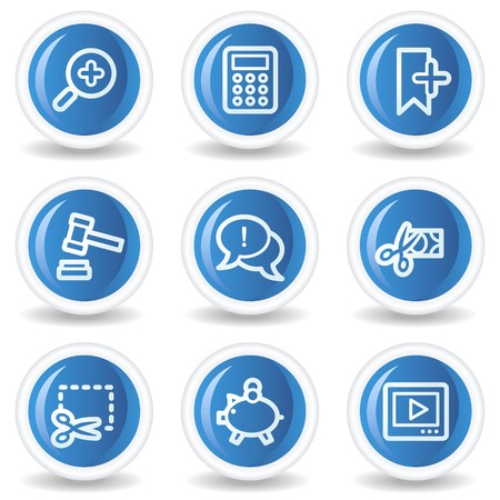 Shopping web icons set 3, blue glossy circle buttons Stock Vector - 7174600