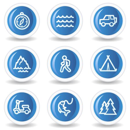 Travel web icons set 3, blue glossy circle buttons  Vector