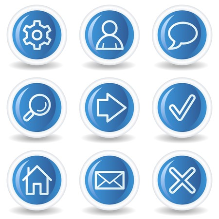 search button: Basic web icons, blue glossy circle buttons Illustration