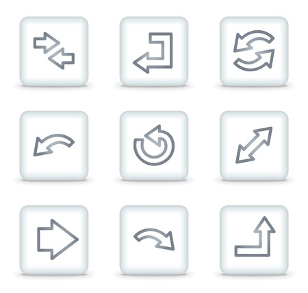 Arrows web icons set 1, white square buttons