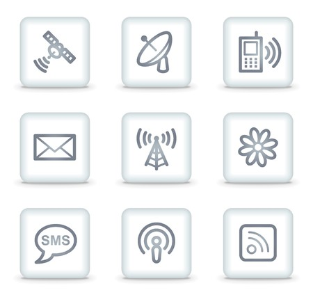 Communication web icons, white square buttons Stock Vector - 7174655