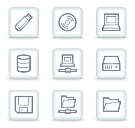 Drives and storage web icons, white square buttons Stock Vector - 7174614