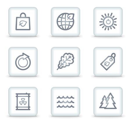 Ecology web icons set 3, white square buttons Stock Vector - 7174685