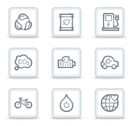 Ecology web icons set 4, white square buttons Vector