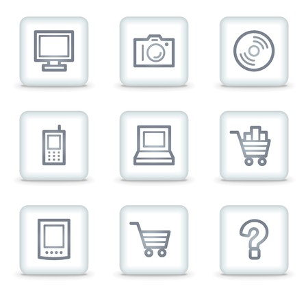 shopping questions: Electronics web icons set 1, white square buttons
