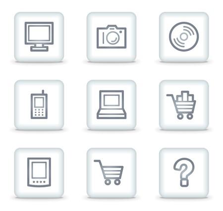 shopping cart icon: Electronics web icons set 1, white square buttons