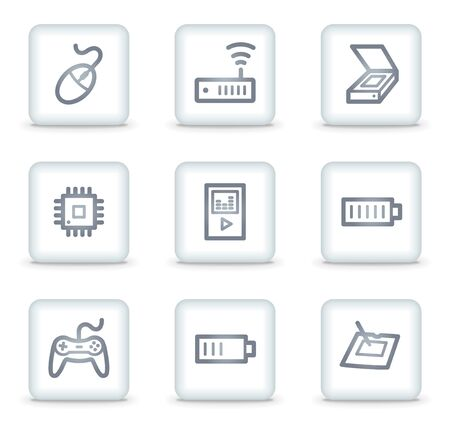 Electronics web icons set 2, white square buttons Stock Vector - 7174653