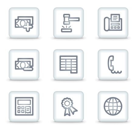 Finance web icons set 2, white square buttons Stock Vector - 7174688
