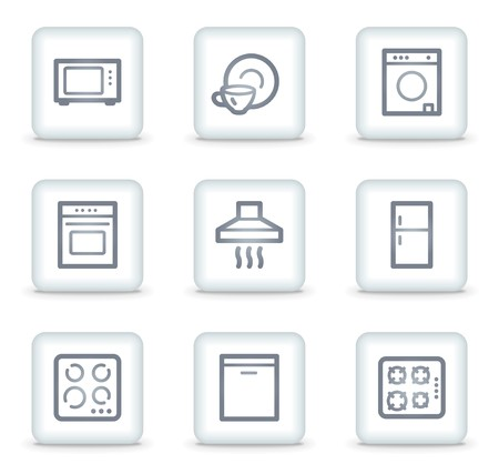 Home appliances web icons, white square buttons Stock Vector - 7174664