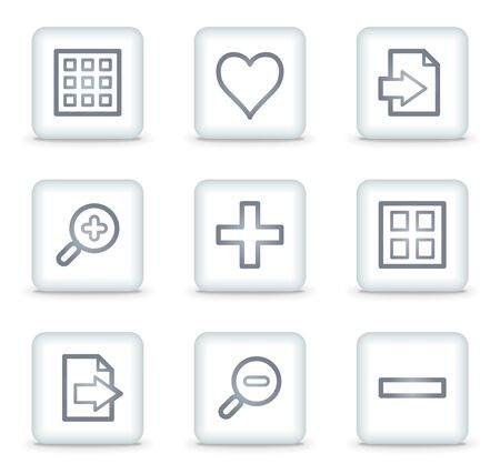 thumbnails: Image viewer web icons set 1, white square buttons Illustration