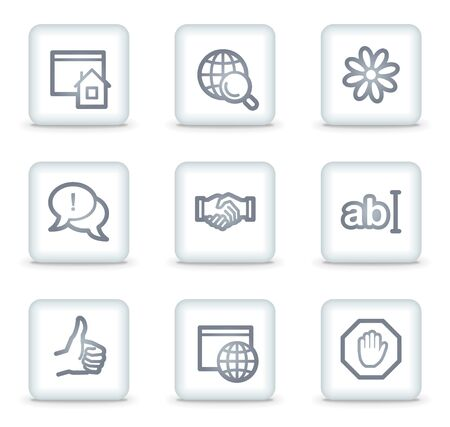 icq: Internet web icons set 1, white square buttons