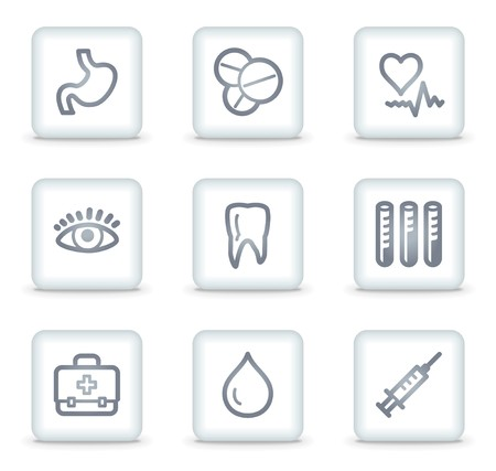 oculist: Medicine web icons set 1, white square buttons