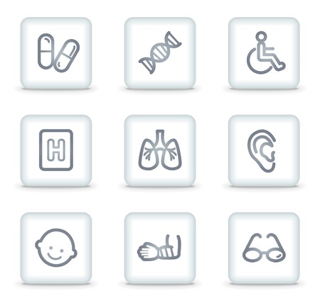 Medicine web icons set 2, white square buttons Vector