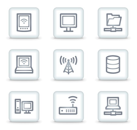 Network web icons, white square buttons Stock Vector - 7174645