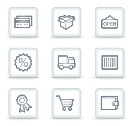 Shopping web icons set 2, white square buttons Stock Vector - 7174654
