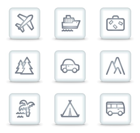 Travel web icons set 1, white square buttons Vector