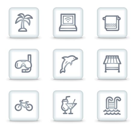 Vacation web icons, white square buttons Vector