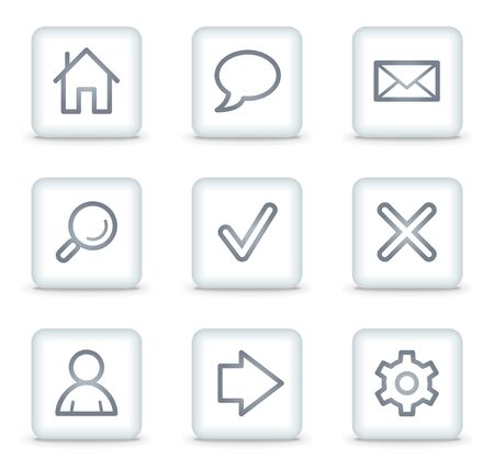Basic web icons, white square buttons Stock Vector - 7174608