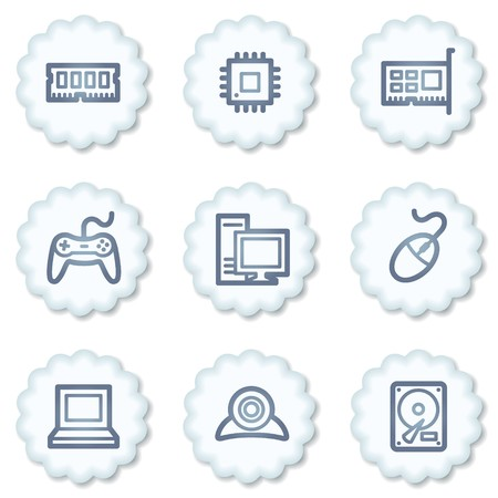 Computer web icons,grey square buttons Stock Photo - 7339105