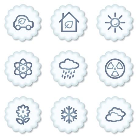Ecology web icons set 2, white buttons photo