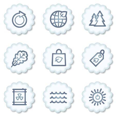 Ecology web icons set 3, white buttons Stock Photo - 7339146