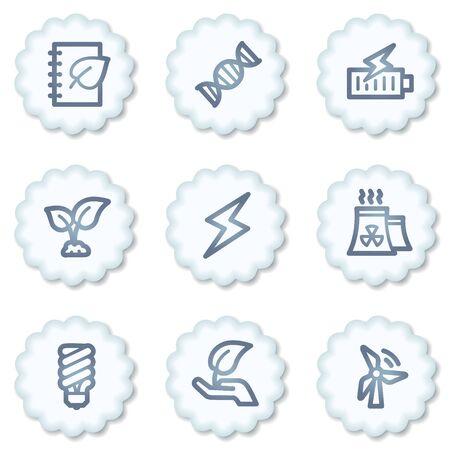 Ecology web icons set 5, white buttons photo