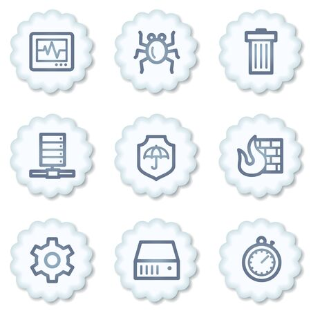 Internet security web icons, white buttons Stock Photo - 7339112