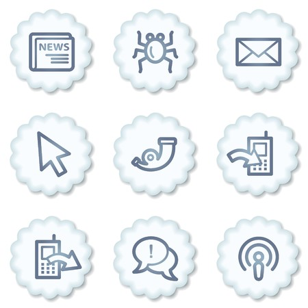 Internet web icons set 2, white buttons Stock Photo - 7339101